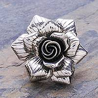 Sterling silver cocktail ring, 'Forever Rose' - Artisan Crafted Sterling Silver Flower Cocktail Ring
