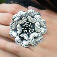 Sterling silver cocktail ring, Queen Zinnia