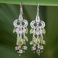 Peridot chandelier earrings, 'Shimmering Cascades' - Fair Trade Sterling Silver and Peridot Chandelier Earrings