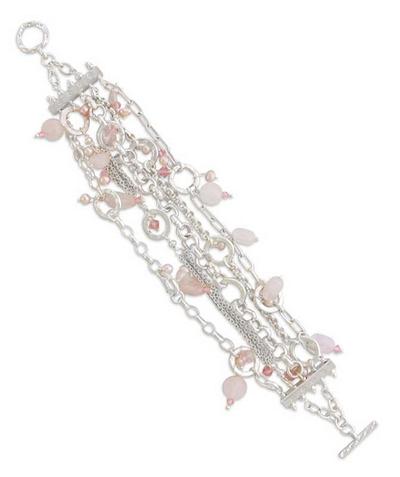 Pearl and Rose Quartz Wristband Bracelet