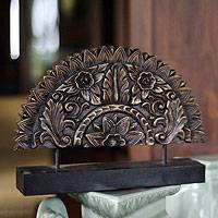 Wood sculpture, 'Sunflower Fan' - Original Wood Sculpture Hand Carved in Thailand