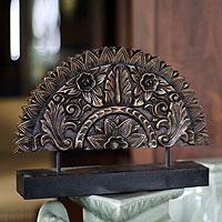 Wood sculpture, 'Sunflower Fan' - Original Wood Sculpture Hand Carved in Thailand