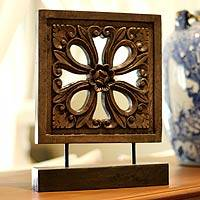 Wood sculpture, 'Floral Square' - Thai Wood Sculpture