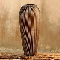 Mango wood vase, 'Silhouette' - Mango wood vase