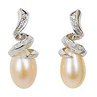 Pearl drop earrings, 'Romance' - Sterling Silver Pearl Drop Earrings