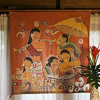 Cotton batik wall hanging, 'At the Market' - Unique Batik Cotton Wall Hanging