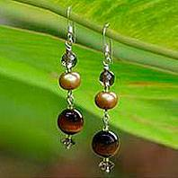 Pearl and tiger's eye dangle earrings, 'Golden Paradise'