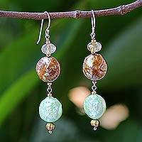 Pearl and citrine drop earrings, 'Living Earth' - Pearl and citrine drop earrings