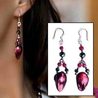 Pearl and hematite dangle earrings, 'Rose Petals' - Pearl and hematite dangle earrings