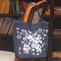 Cotton handbag, 'Flower Breeze' - Cotton handbag