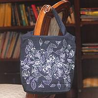 Cotton handbag, 'Swirling Leaves' - Cotton handbag