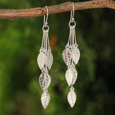 Sterling silver dangle earrings, 'Leaf Chimes' - Hand Crafted Sterling Silver Dangle Earrings
