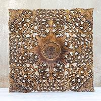 Teak relief panel, 'Jungle Blossom' - Unique Floral Relief Panel