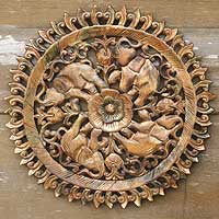 Teak relief panel, 'Elephant Planet' - Unique Teakwood Elephant Relief Panel