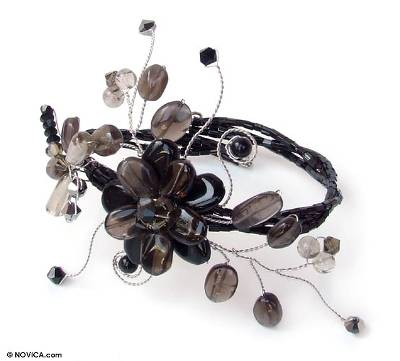 Unique Floral Beaded Smoky Quartz Bracelet