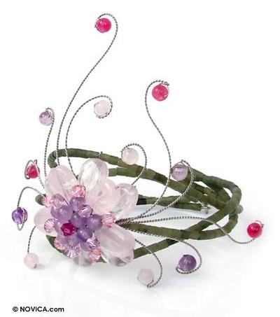 Rose quartz and amethyst floral bracelet