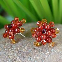 Carnelian button earrings, 'Ginger Star Blossoms' - Carnelian Button Earrings
