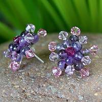 Amethyst button earrings, 'Lilac Star Blossoms' - Amethyst Button Earrings