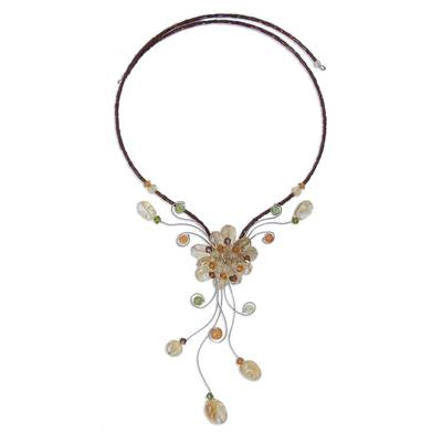 Hand Made Floral Citrine Necklace