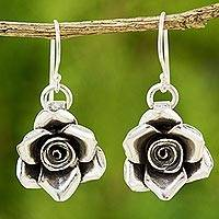 Silver floral earrings, 'Sweetheart Rose' - Handcrafted Floral 950 Silver Dangle Earrings