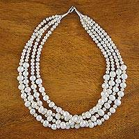 Pearl strand necklace, 'Sweet and White' - Hand Made Bridal Pearl Strand Necklace