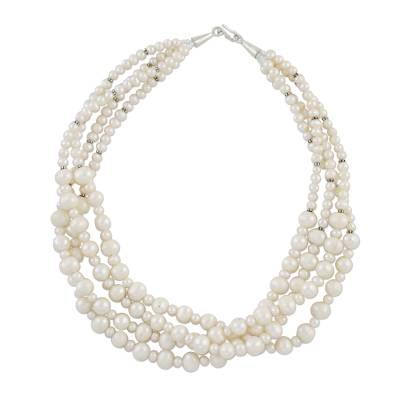 Hand Made Bridal Pearl Strand Necklace