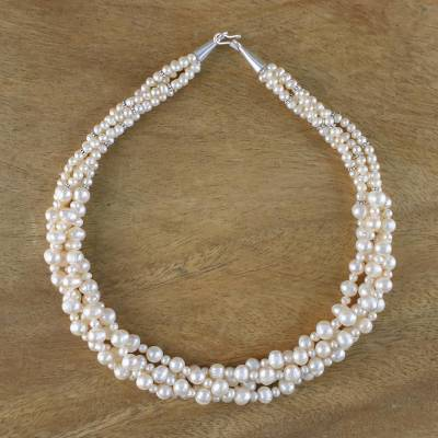 Pearl strand necklace, 'Pink Princess' - Handcrafted Bridal Pearl Torsade Necklace from Thailand