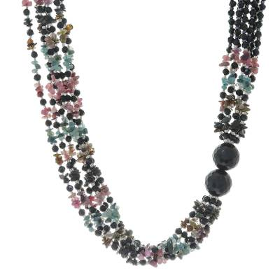Onyx and Tourmaline Beaded Necklace