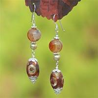 Pearl and DZI Tibet dangle earrings, 'Fire' - Pearl and DZI Tibet dangle earrings