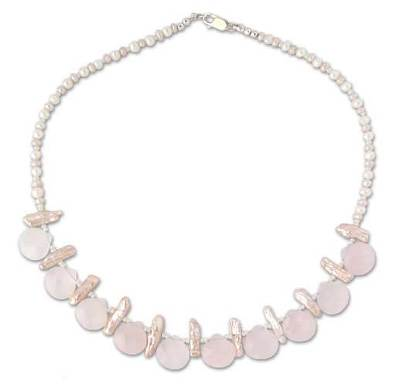 Rose quartz and pearl choker
