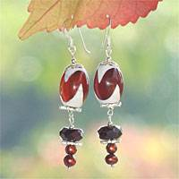 Pearl and DZI Tibet dangle earrings, 'Hypnotic Dance' - Pearl and DZI Tibet dangle earrings