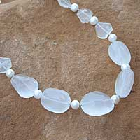 Pearl and quartz beaded necklace, 'Coconut Crystals' - Pearl and quartz beaded necklace