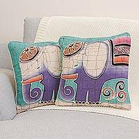 Cotton cushion covers, 'Purple Pachyderm' (pair) - Hand Crafted Cotton Cushion Covers (Pair)