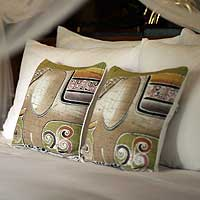 Cotton cushion covers, 'Pachyderm Personality' (pair) - Batik Cotton Cushion Covers (Pair)