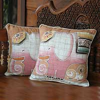 Cotton cushion covers, 'Pink Elephants' (pair) - Batik Cotton Cushion Covers (Pair)