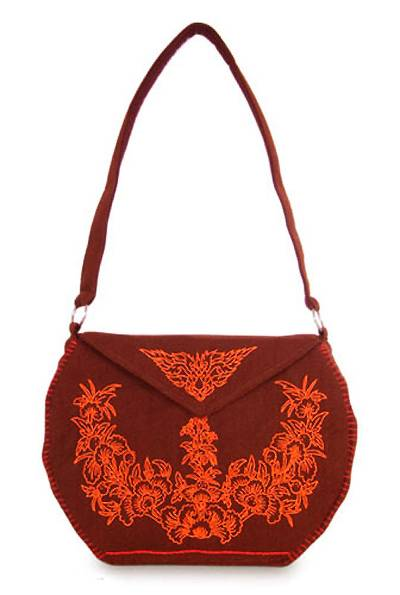 Artisan Crafted Red Handbag with Embroidered Floral Design