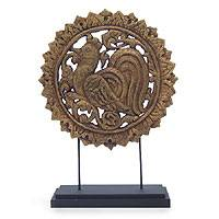 Wood sculpture, 'Golden Rooster' - Wood sculpture