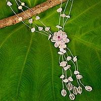 Rose quartz and pearl flower necklace, 'Fantasy' - Artisan Crafted Floral Rose Quartz Necklace