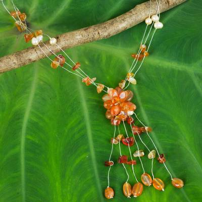 Carnelian and pearl flower necklace, 'Fantasy' - Fair Trade Floral Carnelian Y Necklace