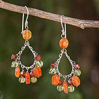Carnelian and peridot chandelier earrings, 'Radiant Dew' - Unique Carnelian Chandelier Earrings