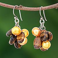 Tiger's eye and pearl earrings, 'Treasure' - Tiger's Eye and Pearl Cluster Earrings