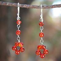 Carnelian dangle earrings, 'Summer Delight' - Artisan Jewelry Carnelian Earrings