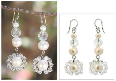 Pearl drop earrings, 'Oriental Bloom' - Pearl drop earrings
