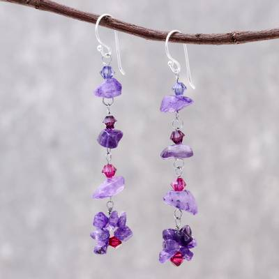 Amethyst dangle earrings, 'Colorful Waterfall' - Beaded Amethyst Dangle Earrings