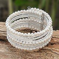 Pearl wrap bracelet, 'Tantalizing White' - Handcrafted Thai Pearl Wristband