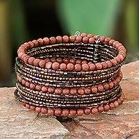 Beaded cuff bracelet, 'Tantalizing Brown' - Beaded cuff bracelet