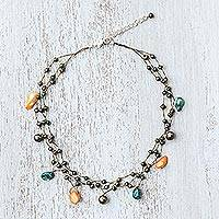 Pearl choker, 'Summer Glow' - Beaded Pearl Necklace