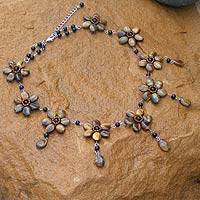 Tiger's eye choker, 'Honey Jasmine' - Handcrafted Tiger's Eye Flower Necklace