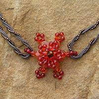 Carnelian flower necklace, 'Starburst'