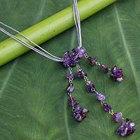 Amethyst pendant necklace, 'Waterfall' - Unique Amethyst Necklace